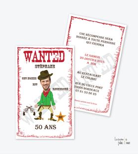 invitation anniversaire homme wanted-recherché-cow boy-cherif