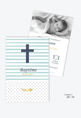 faire part baptême garçon tendance et pas cher-croix et rayures-motif à pois- rayure bleu ciel - epi de blé-eglise-baptême religieux-pictogramme