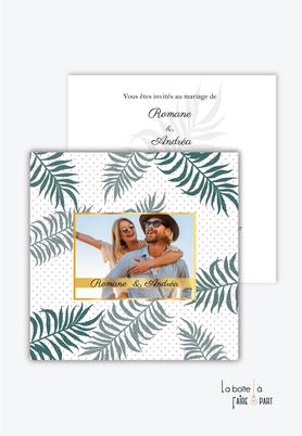 Faire-part mariage-végétal-tropical-palmier-exotique-doré-