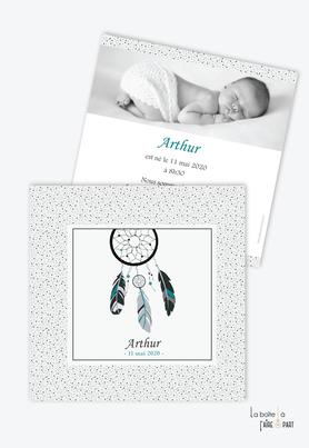 faire part naissance garçon attrape rêves à pois- coloris noir et blanc-boheme-motif à pois- plumes-avec photo