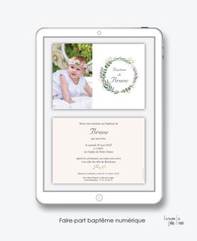 faire-part baptême fille numérique-faire part baptême électronique-faire part numérique-pdf imprimable-pdf numérique-faire part connecté- couronne de feuille d'eucalyptus-religieux-faire-part à envoyer par sms-mms- par mail- par réseaux sociaux
