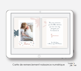 carte de remerciements naissance fille numérique-électronique-pdf-ananas motif fleuris-électronique-pdf-à imprimer soi-même-motifs abstrait et Terrazzo