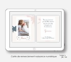 carte de remerciements naissance fille numérique-électronique-digital-ananas motif fleuris-électronique-pdf-à imprimer soi-même-motifs abstrait et Terrazzo -carte de remerciement à envoyer par mail, mms et réseau sociaux