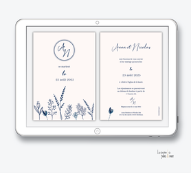faire-part mariage numérique-faire part mariage digital-faire part numérique-faire part mariage electronique -faire-part à envoyer par mms-par mail-réseaux sociaux-whatsapp-facebook-messenger-végétal bleu-elegant-chic-champêtre-rose et bleu-simplicité