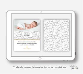 carte de remerciements naissance numérique- éléphant couronne-motifs traits-carte de remerciement électronique -pdf imprimable-pdf numérique-faire part connecté-à imprimer soi-mêmeA envoyer via les réseaux sociaux whatsapp-messenger-facebook-mms et mail