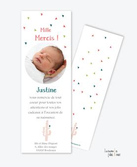 carte remerciement naissance fille cactus rose format marque page