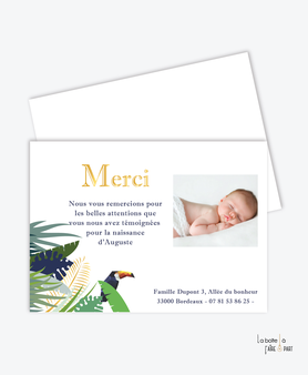 carte de remerciement naissance garçon tropical toucan-jungle-feuilles-dorée