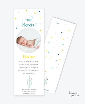 carte remerciement naissance garçon cactus vert et jaune au format de marque page