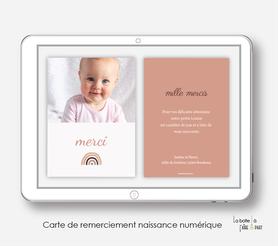 carte de remerciements naissance fille numérique-carte de remerciement électronique -pdf imprimable-pdf numérique-faire part connecté- arc en ciel -à imprimer soi-même-carte de remerciement digital à envoyer par mail, mms et réseau sociaux