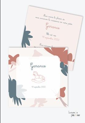 faire part naissance fille motifs abstraits- motifs Terrazzo- cheval à bascule-vintage-rose-bleu canard-format carré-