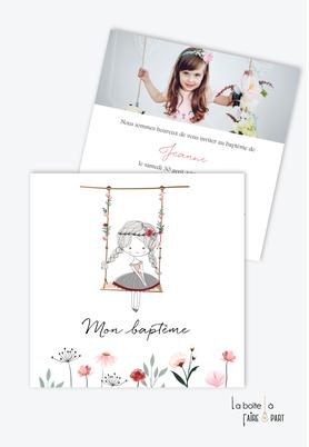 faire part baptême fille-balançoire-fleurs des champs-champetre-petit fille-danseuse-couronne de fleurs-nattes