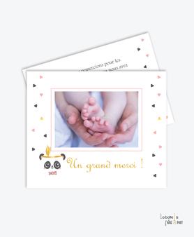 carte de remerciement naissance fille-panda plume-noeud papillon rose-tendance-moderne-pas cher