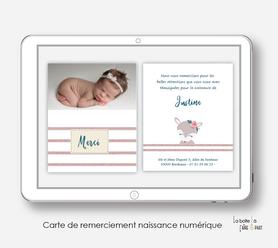 carte de remerciements naissance numérique-carte de remerciement électronique -pdf imprimable-pdf numérique-faire part connecté- renarde marine-à imprimer soi-même-carte de remerciement naissance à envoyer par mail
