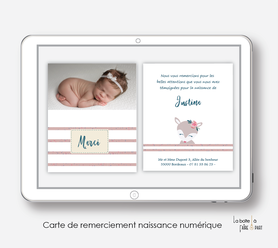 carte de remerciements naissance fille numérique-carte de remerciement électronique -pdf imprimable-pdf numérique-faire part connecté- renarde marine-à imprimer soi-même-carte de remerciement digital à envoyer par mail, mms et réseau sociaux