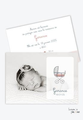 faire part naissance fille  moderne-pas cher-landau-pousette-vintage-lit bébé-couffin-layette-faire-part simple-motif terrazzo-granite