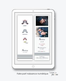 faire-part naissance garçon numérique-faire part naissance digital-faire part numérique-pdf numérique-faire part connecté-Bottes marin-chaussure-rayures-faire-part à envoyer par sms-mms-à envoyer par mail-réseaux sociaux-whatsapp-messenger-via smartphone
