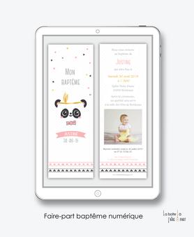 faire part bapteme fille numérique-Faire-part baptême digital-électronique-fichier Pdf-Panda plume-à imprimer soi même