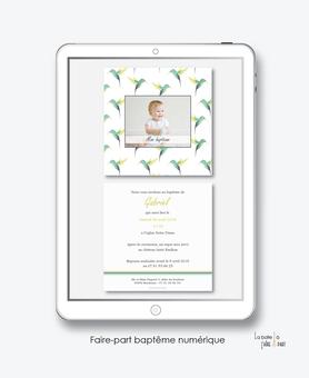 faire-part baptême numérique-faire part baptême électronique-faire part numérique-pdf imprimable-pdf numérique-faire part connecté-colibris vert-oiseaux-faire part à imprimer soi-même-faire-part à envoyer par sms ou mms - faire-part à envoyer par mail