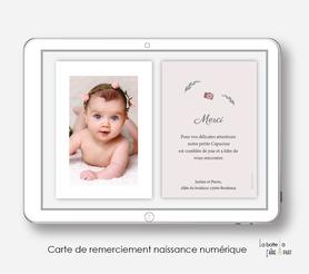 Carte de remerciements naissance fille numérique-carte de remerciements naissance digital-faire-part digital -Layette rose-à imprimer -à envoyer par mail -à envoyer par mms-sms-réseaux sociaux-facebook-whatsapp