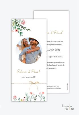 Faire-part mariage-format marque page-fleurs des champs-photo-bouquet champêtre-ruban ficelle