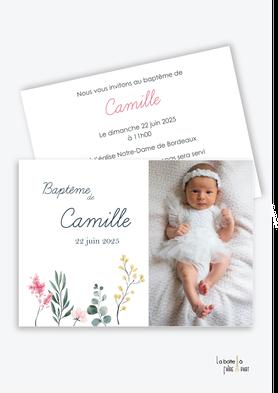 faire part baptême fille- bouquet de fleur-bouquet végétal-eucalyptus-photo-champêtre