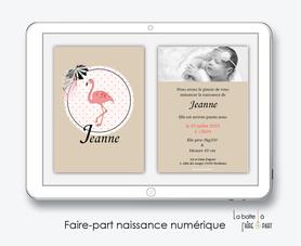 faire part naissance fille numérique-faire part naissance électronique -pdf imprimable-pdf numérique-faire part connecté- flamant rose-tropical-kraft-pois-animal-à imprimer soi-même-faire part naissance à envoyer par mail-réseaux sociaux