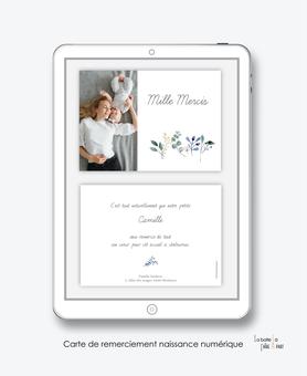 carte de remerciement naissance fille numérique-remerciements naissance électronique-carte de remerciements digital-pdf imprimable-pdf numérique-remerciement connecté-avec photos-carte de remerciement  à imprimer-bouquet de fleurs-couronne champêtre-chic