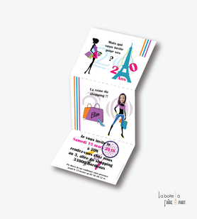 invitation anniversaire femme reine du shopping-aatrape reve-paris