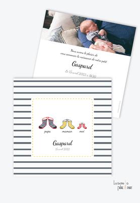 faire part naissance garçon -botte de marin-format carré-thème marin-botte de pluie-bretagne-bateau-chaussure