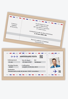 Invitation anniveraire homme billet d'avion party-fiesta-beige
