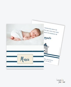 carte de remerciement naissance garçon-ourson marin-tendance-moderne-pas cher- thème marin-rayure-animal-bleu et gris-rayure marine-ours