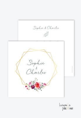 Faire-part mariage-champêtre-bohème-bouquet de fleurs-pivoines-format carré-recto/verso ou plié en 2
