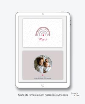 carte de remerciement naissance fille numérique-remerciements naissance digital-remerciements numérique--remerciement connecté-arc en ciel-carte de remerciement  à imprimer soi-même- carte de remerciement  à envoyer par mail mms réseaux sociaux