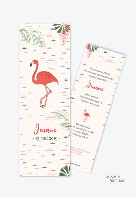 faire part naissance fille flamant rose tropical-rose et vert-format marque page