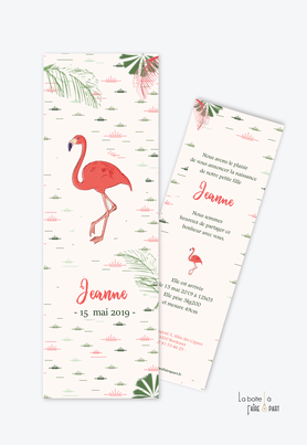 faire part naissance fille flamant rose tropical-rose et vert-jungle-format marque page-faire part animal