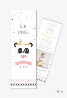 faire part bapteme fille Panda plume-noeud-doré-format marque page