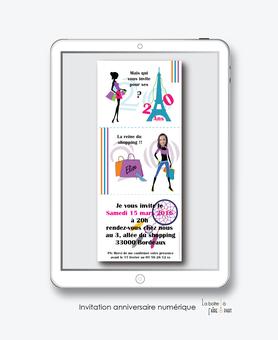 invitation anniversaire femme numérique-électronique- 20ans-30ans-40ans-50ans-60ans-à imprimer soi-même--faire-part à envoyer par sms-mms-par mail-réseaux sociaux-whatsapp-facebook-TOUR EFFEL-SHOPPING-ATTRAPE REVES-