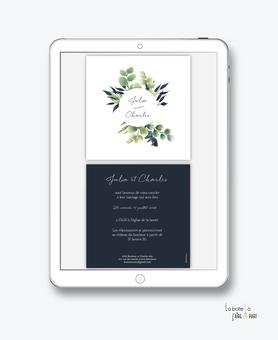 faire-part mariage numérique-faire part mariage digital-faire part numérique-pdf numérique-faire part mariage electronique -faire-part à envoyer par mms-par mail-réseaux sociaux-whatsapp-facebook-messenger-eucalyptus-feuille bleu-végétal-format carré