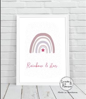 Affiche fille arc en ciel- arc en ciel-motif à pois-etoile-rose et fuchia-déco chambre-affiche déco-poster- chambre de bébé-poster de chambre-déco chambre de bébé-affiche de naissance-affiche cadeau-cadeau de naissance- affiche naissance