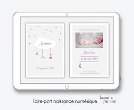 faire-part naissance fille numérique-faire-part naissance fille électronique-fichier pdf -nuage blanc -à imprimer soi même-à envoyer par mail -à envoyer par sms