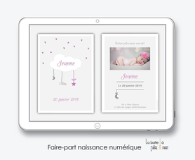 faire-part naissance fille numérique-faire-part naissance fille électronique-fichier pdf -nuage blanc -à imprimer soi même-à envoyer par mail -à envoyer par mms-sms-réseaux sociaux