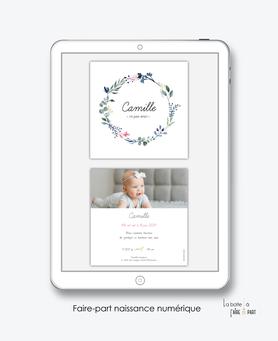 faire-part naissance fille numérique-faire part électronique-faire part numérique-pdf numérique-faire part connecté-faire part à imprimer-faire-part à envoyer par sms-mms-par mail-réseaux sociaux-whatsapp-facebook-photo-couronne-fleurs-champêtre-carré