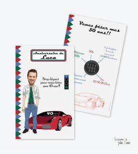 invitation anniversaire homme voiture-course-circuit