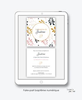 faire-part baptême fille numérique-faire part baptême digital-faire part numérique- imprimable-pdf numérique-faire part connecté-motif feuille-église-colombe-faire part à imprimer soi-même-faire-part à envoyer par sms msm-faire-part envoyer par mail
