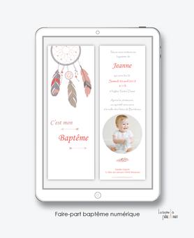 faire part bapteme fille numérique-Faire-part baptême digital-électronique-fichier Pdf-attrape reve-à imprimer soi même