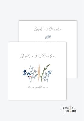 Faire-part mariage-bohème chic-jardin de fleurs et de vegetal-blé-des pampas-eucalyptus -format carré