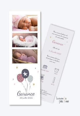 faire part naissance fille -3 ballons volants - tryptique de photos-des pictogrammes-etoiles-photo-format marque page-