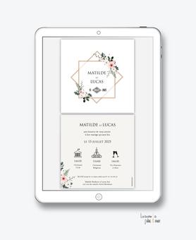 faire-part mariage numérique-faire part mariage digital-faire part numérique-pdf numérique-faire part mariage electronique -faire-part à envoyer par mms-par mail-réseaux sociaux-whatsapp-facebook-messenger-bouquet champêtre-fleurs-fougére-pictogramme
