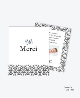 carte remerciement naissance garçon motif graphique-art déco-noir et blanc