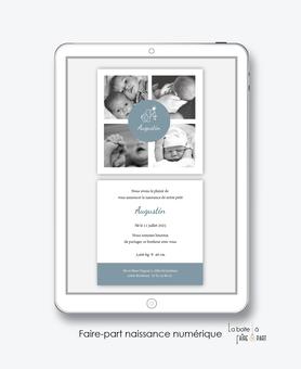 faire-part naissance garçon numérique-faire part digital-faire part numérique-imprimable-pdf numérique-faire part connecté-elephant couronne- 4 photos-faire part à imprimer-faire-part à envoyer par sms-mms-par mail-réseaux sociaux-whatsapp-facebook